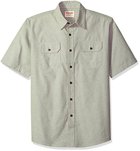 Wrangler Authentics Men's Short Sleeve Classic Woven Shirt, sea Spray Chambray, L (Sleeve Shirt Woven)