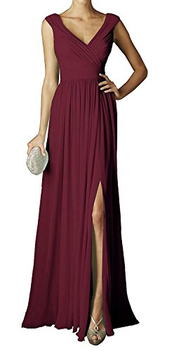 Staypretty Bridemaid Dress V Neck 2018 Women Chiffon Long Pleated Prom Gown Evening Dress with Slit Burgundy Size 18