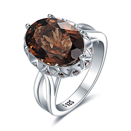 Smoky Quartz Oval Split Shank Ring - JewelryPalace 5.7ct Oval Shape Created Smoky Quartz Solitaire Cocktail Ring 925 Sterling Silver size 8