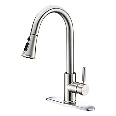 Kitchen Faucets with Pull Down Sprayer - Kablle Commercial Single Handle Brushed Nickel Kitchen Faucet, Single Level High Arch Pull Out Stainless Steel Kitchen Sink Faucets with Deck Plate