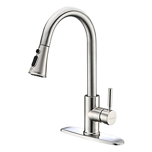 Kitchen Faucets with Pull Down Sprayer - Kablle Commercial Single Handle Brushed Nickel Kitchen Faucet, Single Level High Arch Pull Out Stainless Steel Kitchen Sink Faucets with Deck Plate by Kablle (Image #7)