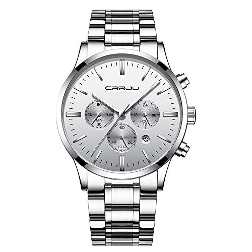 CRRJU Men's Multifunctional Chronograph Wristwatches,Stainsteel Steel Band Waterproof Watch (Silver A)