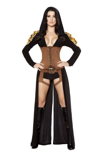 Roma Costume 5 Piece Warrior As Shown, Black/Tan, Large ()