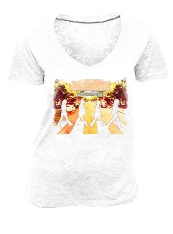 The Beatles Penny Lane V-Neck Burnout Distressed White Juniors T-shirt Tee (Juniors Medium)