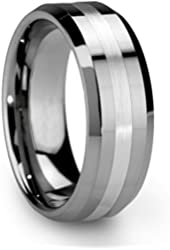 King Will Men's 8mm Tungsten Ring One Tone Matte Finish Brushed Center Wedding Band Beveled Edge