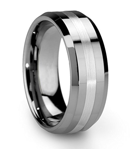 King Will Classic Men's 8mm Tungsten Ring One Tone Matte Finish Brushed Center Wedding Band Beveled Edge(11)