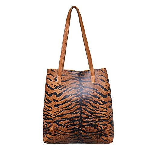 Diamondo Women Totes Leather Handbag Leopard Shopping Bag Large Shoulder Bags (Brown -