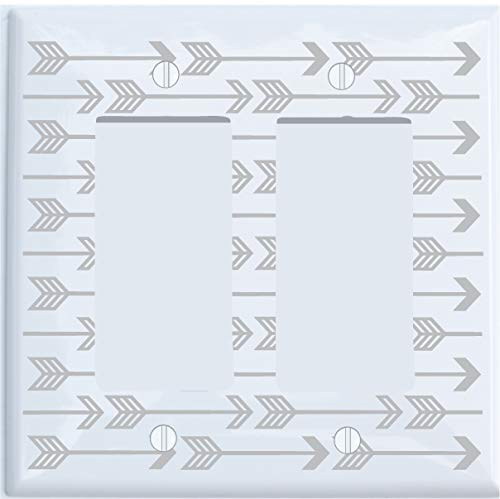 Grey Arrow Print Light Switch Plate and Outlet