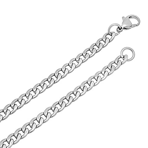 Durable Stainless Steel 5mm Cuban Curb Link Chain Necklace, 18