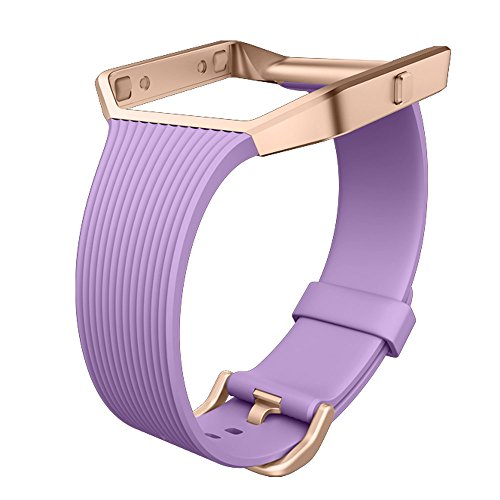 UMTELE Slim Profile Replacement Band with Rose Gold Stainless Steel Frame for Fitbit Blaze, Small, - Frame Violet