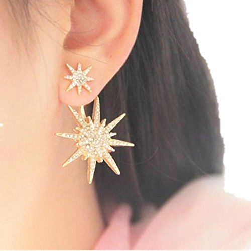 HIRIRI Women Lady 1 Pc Dangle Gold Crystal Rhinestone Earrings Star Ear Stud (Gold)