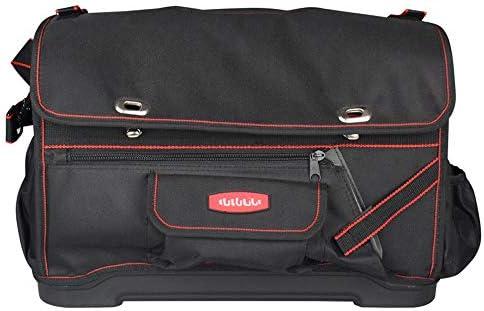 耐久性工具バッグ 防水ラバーベース多機能テクニシャンバッグ調節可能なショルダー付き工具収納袋 工具収納&仕分け管理&運搬用 (色 : Black, Size : One size)