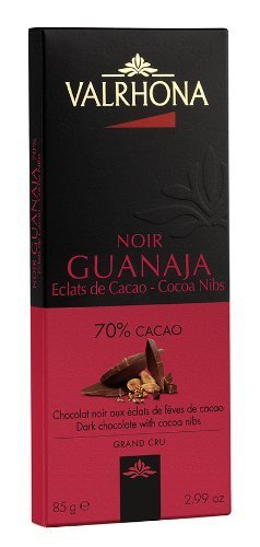 "Valrhona French Gourmet Chocolate Bars ""Guanaja"" Dark Chocolate 70% with Cocoa nibs, 2 Pack 2x3oz"