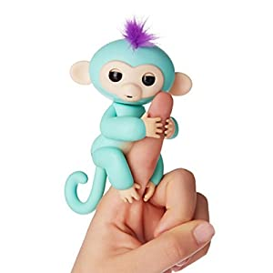 Szsmart Fingerlings Interactive monkey Electronic monkey little baby cute pet touch stress release fun thumb toys frindship Finger Puppets Children Kids Toy turquoise