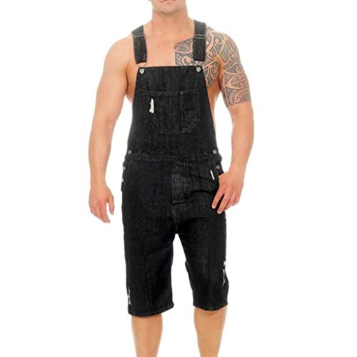 TIFENNY Men's Overall Casual Jumpsuit Jeans Wash Broken Pocket Trousers Suspender Pants Bib Pants Black ()