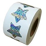 "Glitter Star Shape Stickers - 1.1"" Inch - 500 Per Roll - Shiny Metallic Foil Teacher Supplies"