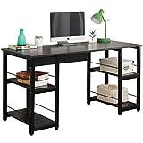 DlandHome 55 Large Computer Desk with 2 Storage Shelves for Both Side, Wooden Home Office Desk/Workstation/ Table, DZ012-BB Black, 1 Pack