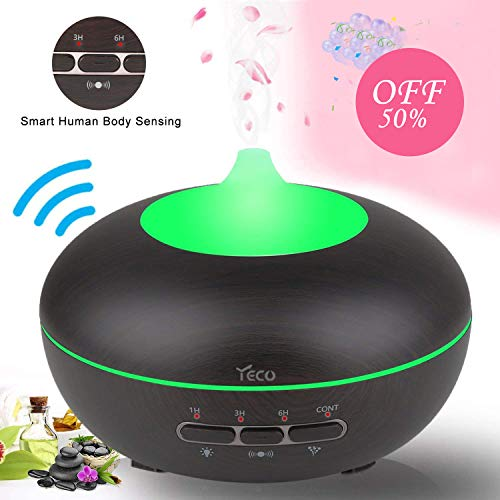 Aromatherapy Diffuser, YECO Smart Essential Oil Diffuser Ultrasonic Cool Mist Quiet Humidifier with Adjustable Mist Mode,Waterless Auto Shut-off & 15 Colors for Home Office - Best Gift for Family ()