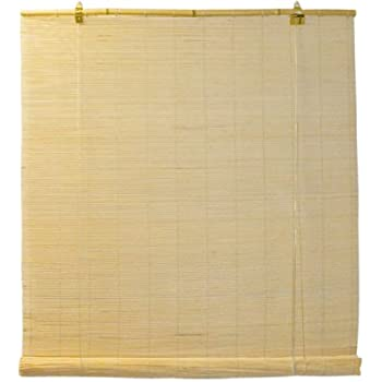 Natural Bamboo Matchstick Roll Up Window Blind 72-Inch Wide by 72-Inch Length (Natural Beige)