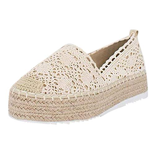 Sunhusing Womens Cutout Hemp Woven Wedge Platform Casual Sandals Hook Flower Round Toe Breathable Espadrilles Shoes Beige