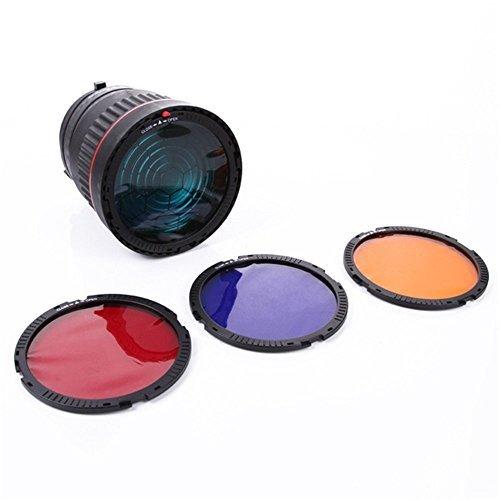 Foto4easy 10X Studio Light Focus Mount Lens Adjust for Flash & LED Light with 4 Color Filters