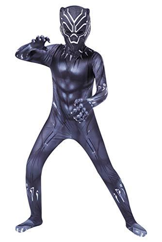 Adult Kids Black Muscle Battle Suit Costume Halloween Cosplay Costume Black Zentai Jumpsuit]()