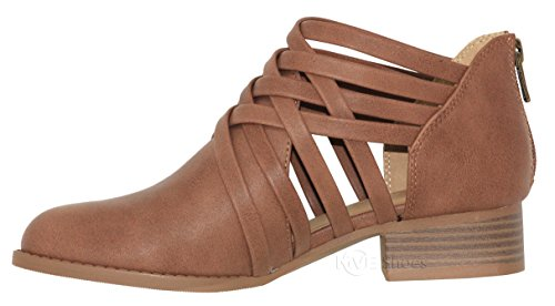 Chunky Criss K Tan Bootie Strappy Heel Low Cross Weeve Women's Woven Classified City Ankle 4xvTax1