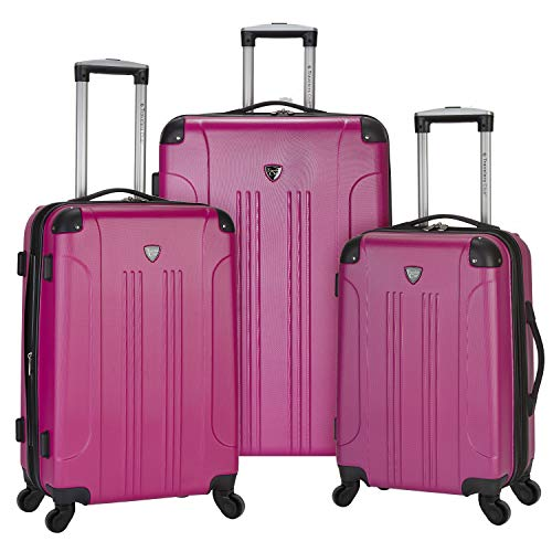 """Travelers Club 3 Piece Original """"Chicago Collection"""" Hardside +25% Expandable Luggage Set Includes 28"""" Upright, 24"""" Suitcase, and 20"""" Carry-On Luggage, Fuchsia Color Option"""