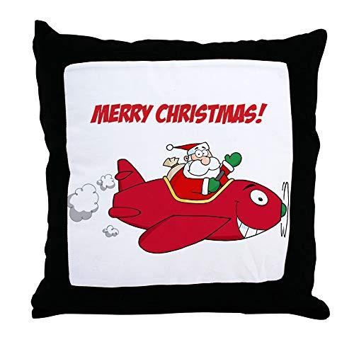 Sprawling Santa - CafePress Santa in Airplane Decor Throw Pillow (18