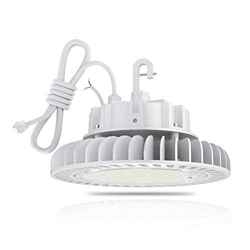 HYPERLITE 5000K LED High Bay (200W) Dimmable UL/DLC Certification Shop Lighting CRI>80Ra 27,000 Lumens Hanging Hook Safe 5' Cable with 110V Plug, 200W-27,000lm,
