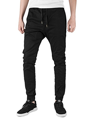 ITALY MORN Men Drop Crotch Jogger Casual Pants Jogging Twill Khakis Chinos M Black