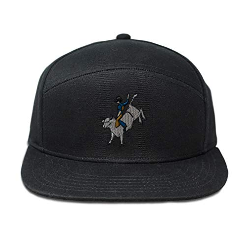 Snapback Hats for Men & Women Bull Rider Embroidery Cotton Flat Bill Hybrid Baseball Cap Snapback Black Design Only