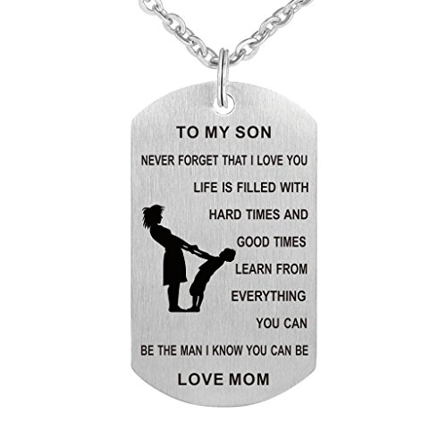 Dad Mom To Son Dog Tag Necklace Military Mens Jewelry Personalized Custom Dogtags