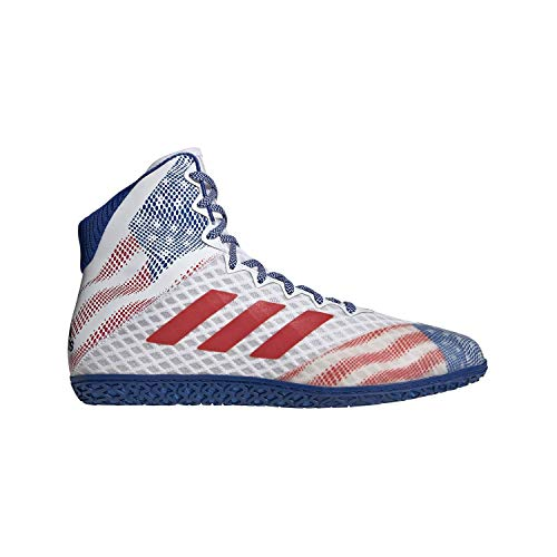 adidas Mat Wizard Hype White/Royal/Red Wrestling Shoes 8
