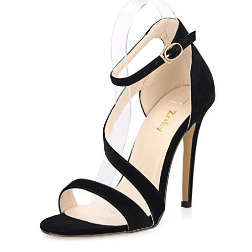 ZriEy Women's Ladies Strappy Thin High Heel Sandals Ankle Strap Cuff Peep Toe Shoes Sexy Comfortable Elegant Velvet Black , 8.5 M US / 39 M EU