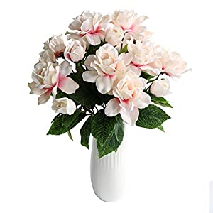 Htmeing 7 Branches Silk Artificial Gardenia Arrangement Flowers Jasmine Wedding Decorative Plant for Home Decoration,2 Bouquets 10