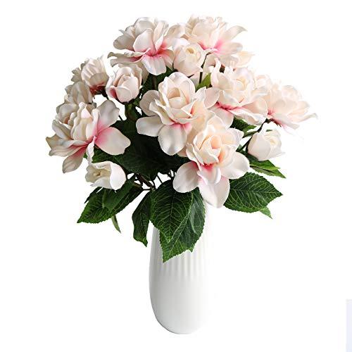 Htmeing 7 Branches Silk Jasmine Artificial Gardenia Flower Wedding Decorative for Home Decoration,2 Bouquets (Pink) (Bouquet Spring 2)