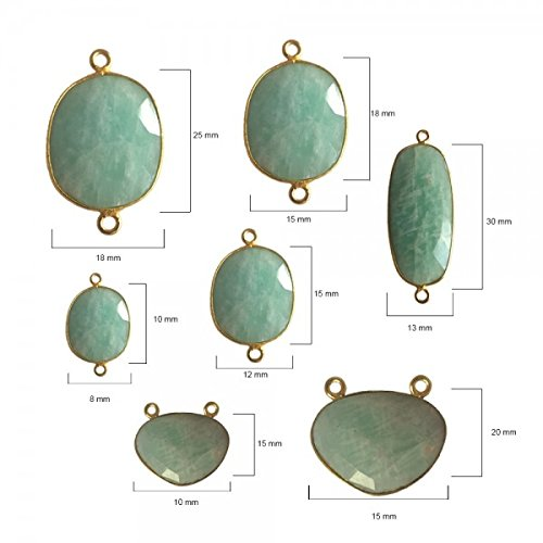 4 Pcs Amazonite Oval Beads 12X15mm 24K gold vermeil by BESTINBEADS, Amazonite Hydro Quartz Oval Pendant Bezel Gemstone Connectors over 925 sterling silver bezel jewelry making supplies