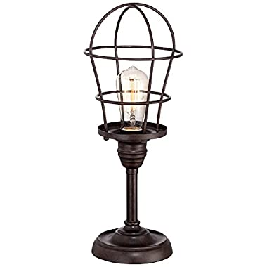 Franklin Iron Works Industrial Wire Cage Accent Lamp