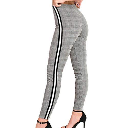 Femme Taille Moyenne Pantalons Longs, Mode Slim Fit Skinny Jeans avec Poches Confortable Straight Casual Denim Pantalon Leggings Bleu Clair S M L Plaid