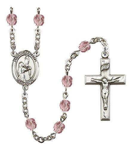 June Birth Month Prayer Bead Rosary with Saint Bernadette Centerpiece, 19 Inch