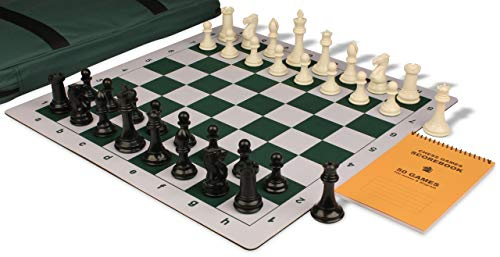 - Professional Jumbo-Floppy Chess Set Package Black & Ivory Pieces - Green