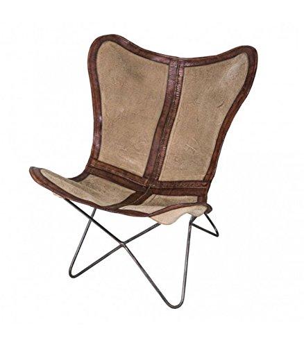 Wadiga Silla Lounge de Piel marrón Oscuro, Lienzo Beige y ...