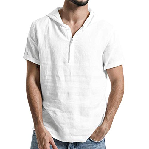 (vermers Retro T-Shirts with Hooded Men's Summer Fashion Short Sleeve Solid Linen Cotton Button-up Shirt)