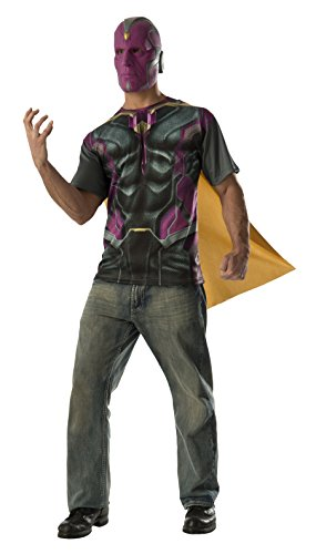Costume Marvel Vision (Rubie's Costume Co Men's Avengers 2 Age Of Ultron Adult Vision T-Shirt Cape and Mask, Multi,)