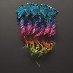 12 inch Aqua Teal Blue Rainbow Clip in H...
