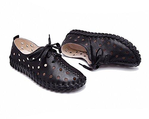 Las Mujeres Del Holgazán De Los Planos De La Moda Ahuecan Hacia Fuera Los Holgazanes De La Conducción De Cuero Ocasionales Zapatos Planos Negro