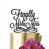 Finally Mr and Mrs, Wedding cake toppers, Cake Topper Wedding, Cake Toppers, Finally cake topper, Finally Mr&Mrs, Mr and Mrs cake topper (width 5'', Gold mirror)