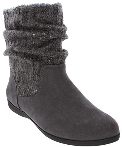 (Rampage Women's Bettey Slouch Winter Sweater Flat Low Shaft Mid Calf Boot Grey)