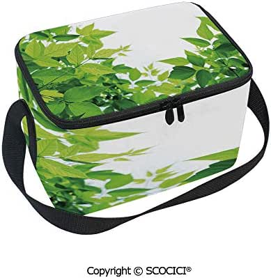SCOCICI Zipper Lunch Bag Beautiful Photo of Fresh Leaves Spring Season Birth of Nature Happiness Lunch Box School Ofice Meal Prep Tote Bag Cooler Lunchbox for Kids Girls Boys Women Men